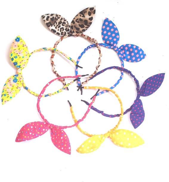 NANDANA COLLECTIONS Multi-colored Baby Girl Hairband Headbands RABBIT EAR Hair Band CLOTH PACK OF 6 Hair Band