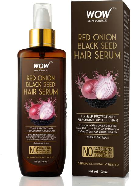 WOW SKIN SCIENCE Red Onion Black Seed Hair Serum - with Red Onion Seed Oil Extract, Watercress - NON STICKY - for Frizz Control & Replenishing Dry, Dull Hair - No Parabens, Silicones & PEG - 100mL