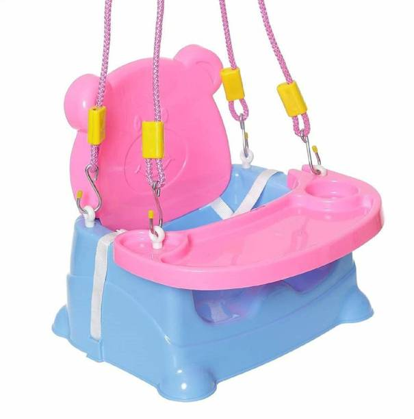 Baby's Swag Kids Booster Seat Cum Feeding Swing Chairs for Baby (BLUE PINK) Rocker