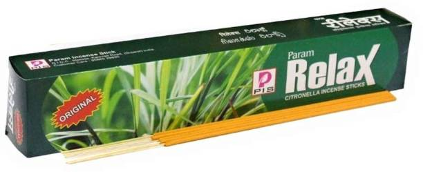 Param Relax 120 Citronella Incense Sticks Mosquito Repellent Agarbatti - Herbal and Natural (1 Boxes x 12 Pouches x 10 Sticks per Pouch= 120 Sticks) LEMON GRASS, CITRONELLA, CAMPHOR