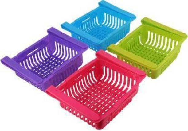 Innovegic 4 Pcs BIG SIZE Expandable Adjustable Fridge Storage Basket Under Shelf Fridge Organiser Rack Space Saver Refrigerator Sliding Drawers - Unbreakable, Random Colours (Multicolor) Containers Kitchen Rack