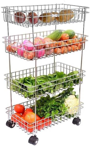 SHEELABEN ENTERPRISE NAVMI Fruits & Vegetable Onion Trolley Container Basket Organizer Organiser Holder Stand for Kitchen (4 Layer Trolley) Stainless Steel Kitchen Trolley