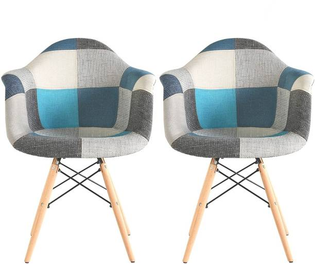 Urbancart Patchwork Side Chair with Padded Seat and Wooden Base for Home, Office, Cafeteria, Restaurant, Lobby- Blue(Set Of 2) Fabric Living Room Chair