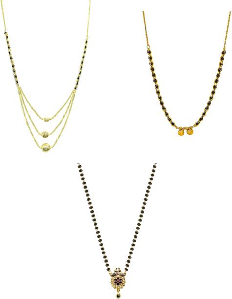 LUGOSI Women's Pride Stylish Designer Gold-Plated Combo Pack 3 Mangalsutra LG-1273 Alloy Mangalsutra