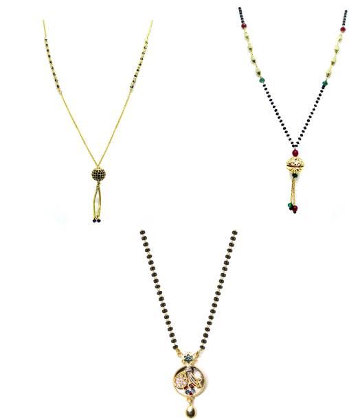 LUGOSI Women's Pride Stylish Designer Gold-Plated Combo Pack 3 Mangalsutra LG-1792 Alloy Mangalsutra