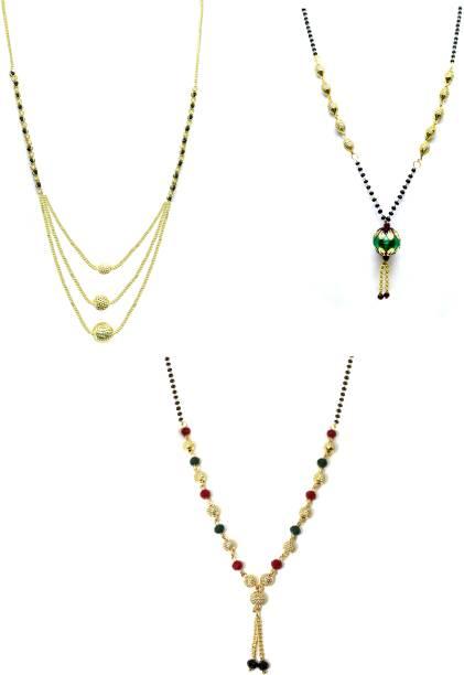 LUGOSI Women's Pride Stylish Designer Gold-Plated Combo Pack 3 Mangalsutra LG-1224 Alloy Mangalsutra