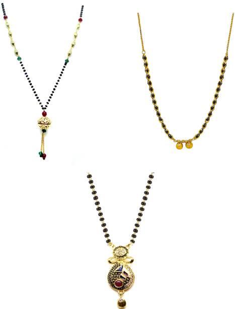 LUGOSI Women's Pride Stylish Designer Gold-Plated Combo Pack 3 Mangalsutra LG-1925 Alloy Mangalsutra