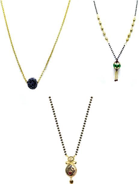 LUGOSI Women's Pride Stylish Designer Gold-Plated Combo Pack 3 Mangalsutra LG-1364 Alloy Mangalsutra