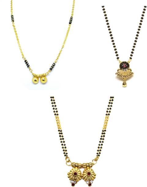 LUGOSI Women's Pride Stylish Designer Gold-Plated Combo Pack 3 Mangalsutra LG-1678 Alloy Mangalsutra