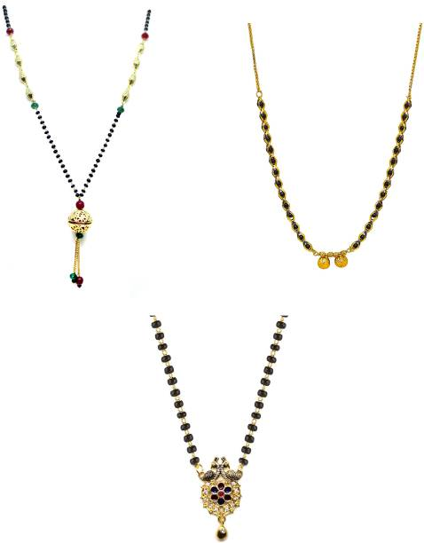 LUGOSI Women's Pride Stylish Designer Gold-Plated Combo Pack 3 Mangalsutra LG-1924 Alloy Mangalsutra