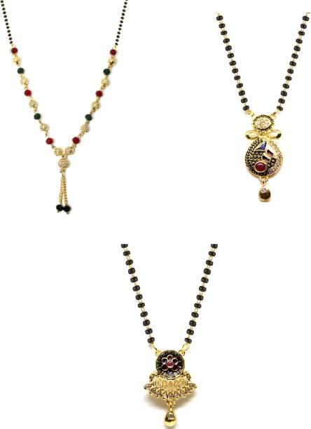 LUGOSI Women's Pride Stylish Designer Gold-Plated Combo Pack 3 Mangalsutra LG-2042 Alloy Mangalsutra