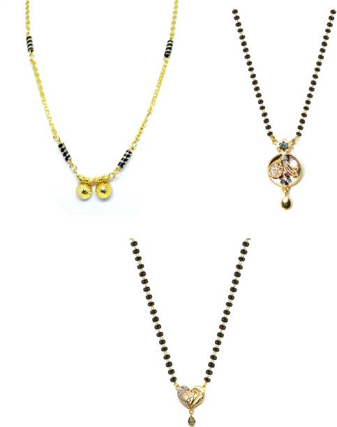 LUGOSI Women's Pride Stylish Designer Gold-Plated Combo Pack 3 Mangalsutra LG-1662 Alloy Mangalsutra