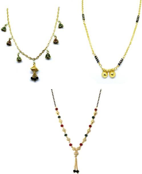 LUGOSI Women's Pride Stylish Designer Gold-Plated Combo Pack 3 Mangalsutra LG-1466 Alloy Mangalsutra