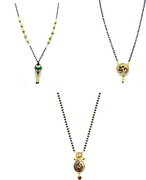 LUGOSI Women's Pride Stylish Designer Gold-Plated Combo Pack 3 Mangalsutra LG-1705 Alloy Mangalsutra
