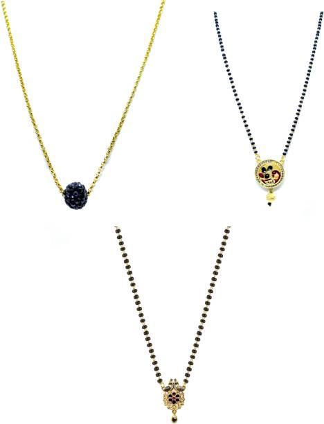 LUGOSI Women's Pride Stylish Designer Gold-Plated Combo Pack 3 Mangalsutra LG-1388 Alloy Mangalsutra
