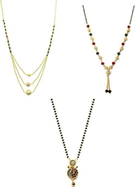 LUGOSI Women's Pride Stylish Designer Gold-Plated Combo Pack 3 Mangalsutra LG-1280 Alloy Mangalsutra