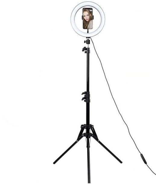 Allmusic Big LED Ring Light with 2.1m stand combo & Coloring Brightness Level Used for Video Shooting | Photo-Shoot | You-Tube | Live Streaming | Blog's & Many More Compatible with All Mobiles & Camera ,mobile accessories Flash
