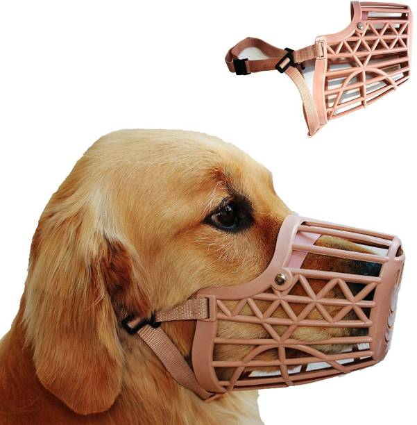Abros SIZE LARGE High Quality Plastic Dogs Muzzle Basket Design, Anti-biting, Adjusting Straps, Mask For Dog/Puppy, (Brown) Large Strips Dog Muzzle