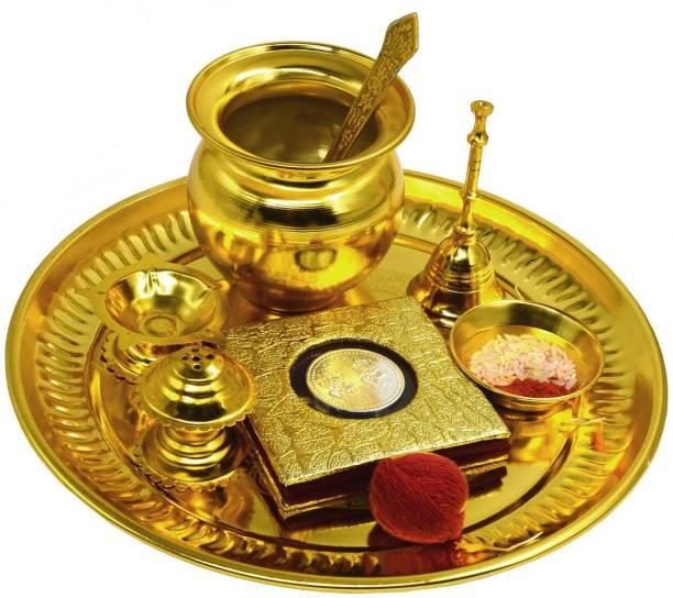 ME&YOU Golden Plated Pooja Thali Set (7 Piece) with German silver Coin (10 gm) | Chandan Tika | Roli Akshat | Kalawa for Navratras | Diwali Pujan | Durga Pooja | Dhanteras Pooja | Bhaidooj Pooja | Diwali Gift Gold Plated