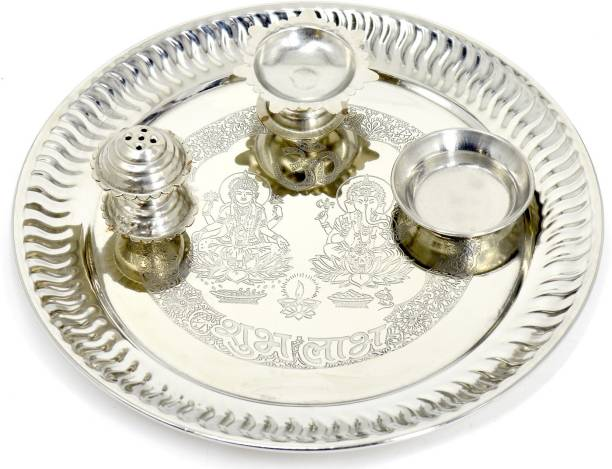 ME&YOU Silver Plated Pooja thali for Diwali Pooja | Navratras | Dhanteras | Bhaidooj and Gift for Friends & Relative Silver Plated