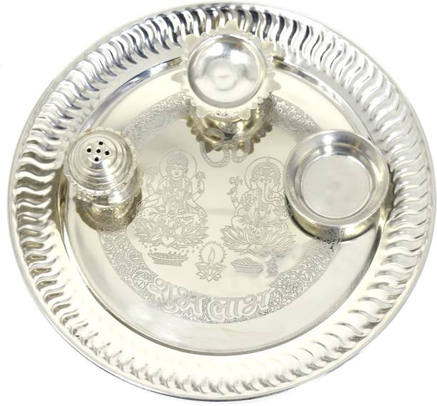 ME&YOU Silver Plated Pooja thali for Diwali Pooja | Navratras | Dhanteras | Bhaidooj and Gift for Friends & Relative (9 Inch) Silver Plated