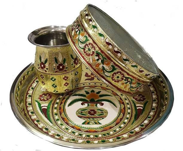 salvusappsolutions Indian Traditional Handcrafted Designer Karwachauth Thali Set for Karwachauth, karwa chauth channi, karwa chauth thali Set, karwa chauth Pooja thali, karwa chauth Items, karwachauth Karwa Steel