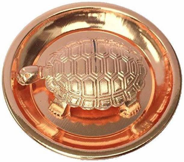 jakhmola enterprises Tortoise With Plate Copper Decorative Showpiece - 6.5 cm (Brass, Copper) Decorative Showpiece  -  5 cm