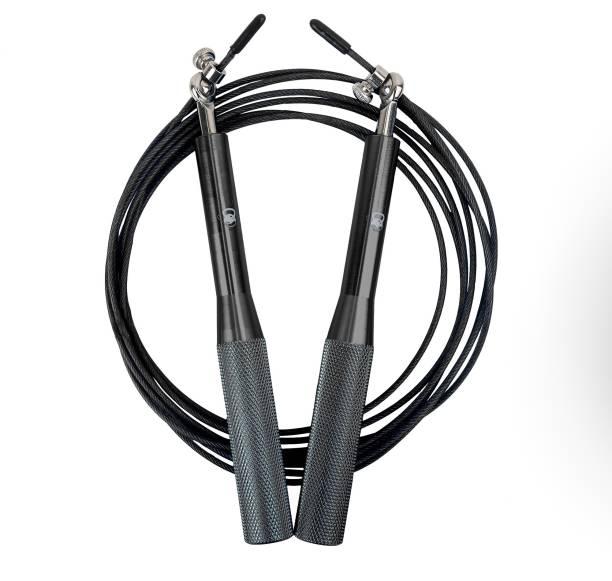 Burnlab Active Metallic Speed Skipping Rope (Black) Ball Bearing Skipping Rope