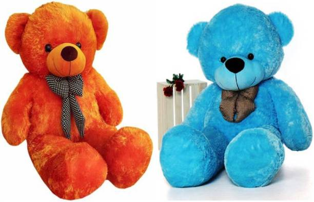ToyKing Combo Offer 3 Feet Soft & Cute Teddy Bear Pack of 2 (Brown,Blue)  - 86 cm