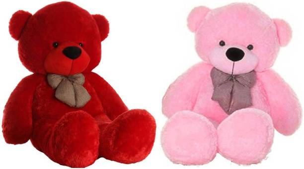 ToyKing Combo Offer 3 Feet Soft & Cute Teddy Bear Pack of 2 ( Red,Pink)  - 86 cm