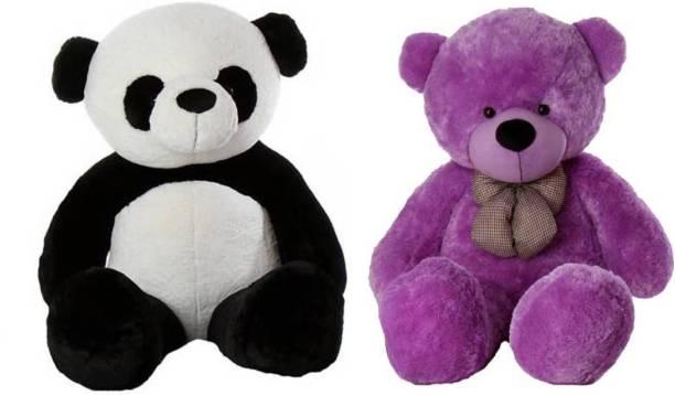 ToyKing Combo Offer 3 Feet Soft & Cute Teddy Bear Pack of 2 (Purple,Panda)  - 86 cm