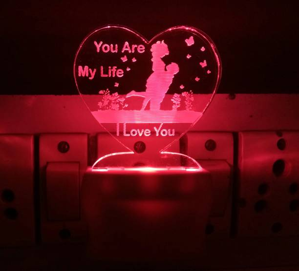 UKANI 3D Illusion LED Light Night Lights for 7 Colors Led Changing Lighting Bedroom Decoration Decorative Lighting Gifts for Boys Girls Kids Baby Friends I LOVE YOU WITH HEART Night Lamp ( 5 cm, Multicolor ) Night Lamp