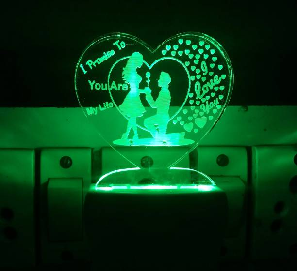 UKANI 3D Illusion LED Light Night Lights for 7 Colors Led Changing Lighting Bedroom Decoration Decorative Lighting Gifts for Boys Girls Kids Baby Friends LOVE PRAPOSAL COUPLE AND YOU ARE MY LIFE WITH I LOVE YOU Night Lamp ( 5 cm, Multicolor ) Night Lamp