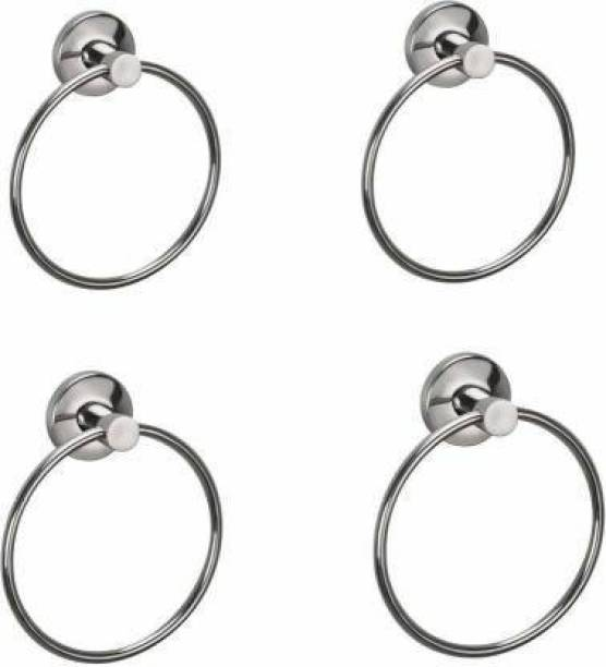 High Grade Stainless Steel Bathroom Towel Ring / Towel Holder - Pack Of 4 Silver Towel Holder silver Towel Holder