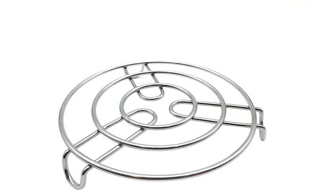 Fleurs De Rocaille 121 Kitchen Cooking Pot Steaming Tray Stand Stainless Steel Round Cooker Steamer Rack Stand Cookware Tool Mirror Trivet (Pack of 1) Trivet
