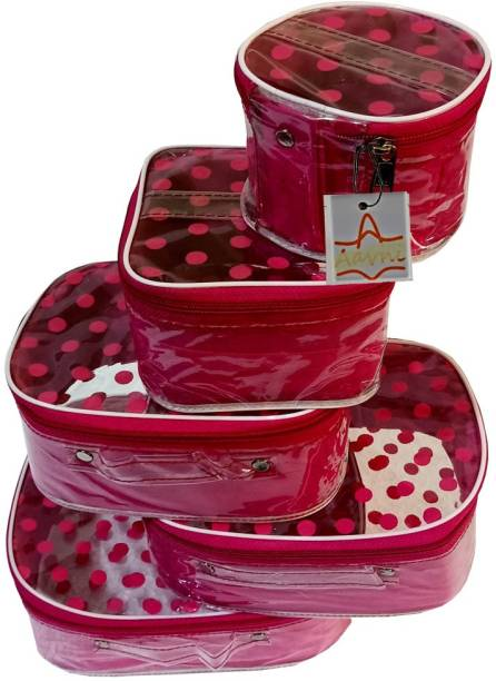 Aavni polka dot 5 kit cosmetics ,necklace storage box Makeup and Jewellery Vanity Box