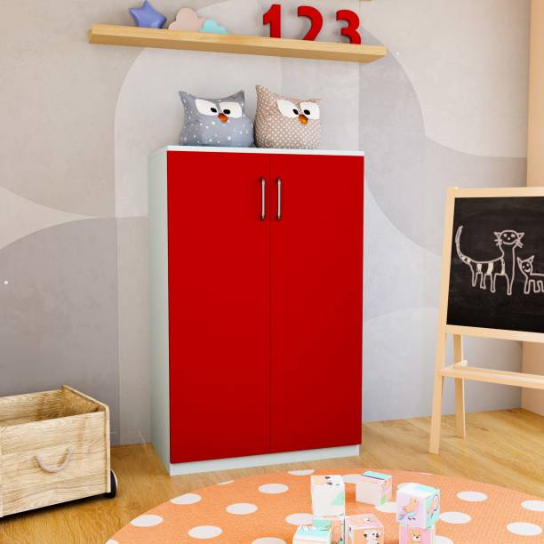 Flipkart Perfect Homes Junior Engineered Wood 2 Door Wardrobe Finish Color   Red and White