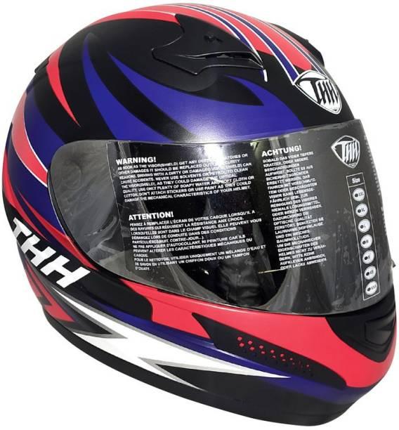 THH HELMETS T-76 Feather Full Face Single Shield Helmet (Black/Red Blue, Matt) Motorbike Helmet