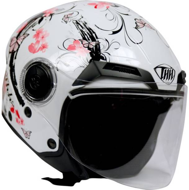 THH HELMETS T-314 Sakura Open Face Double Shield Helmet (White/Pink, Glossy) Motorbike Helmet