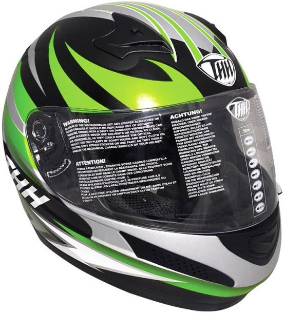THH HELMETS T-76 Feather Full Face Single Shield Helmet (Black/Green, Matt) Motorbike Helmet