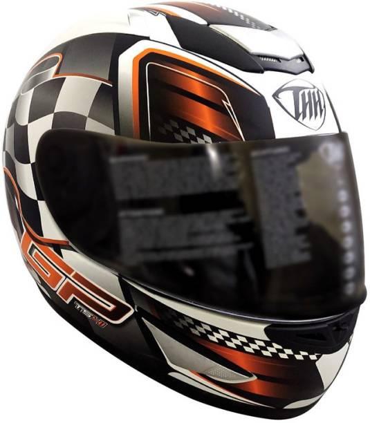 THH HELMETS TS-41 Race Full Face Single Helmet (White/Orange, Matt) Motorbike Helmet