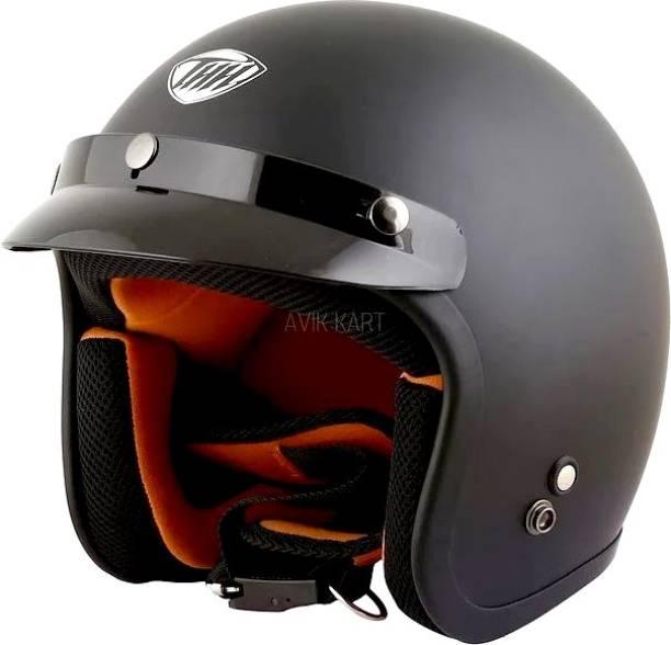 THH HELMETS FH-356 Plain Open Face Helmet (Black, Matt) Motorbike Helmet