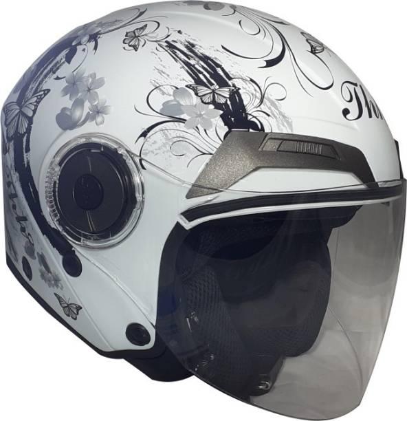 THH HELMETS T-314 Sakura Open Face Double Shield Helmet (White/Grey, Glossy) Motorbike Helmet
