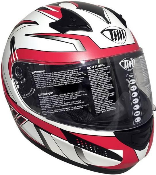 THH HELMETS T-76 Xtreme Full Face Single Shield Helmet (White/Red, Matt) Motorbike Helmet
