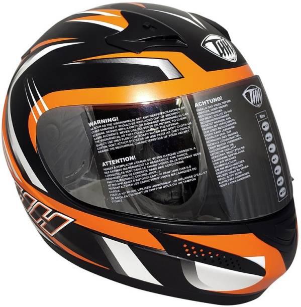 THH HELMETS T-76 Xtreme Full Face Single Shield Helmet (Black/Orange, Matt) Motorbike Helmet