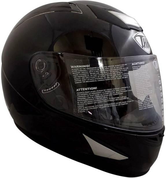 THH HELMETS TS-41 Plain Full Face Single Helmet (Black, Glossy) Motorbike Helmet