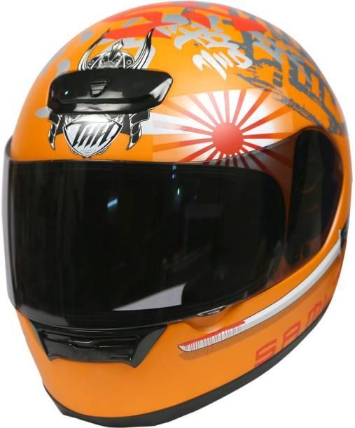 THH HELMETS TS-15 Samurai Full Face Single Shield Helmet (Orange, Matt) Motorbike Helmet