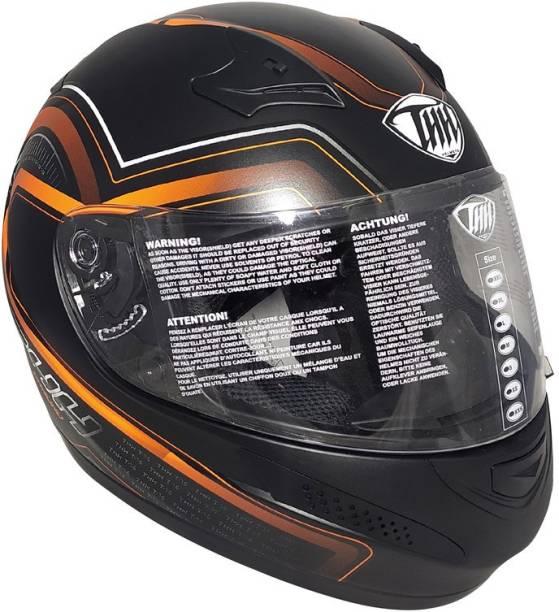 THH HELMETS T-76 Chrono Full Face Single Shield Helmet (Black/Orange, Matt) Motorbike Helmet
