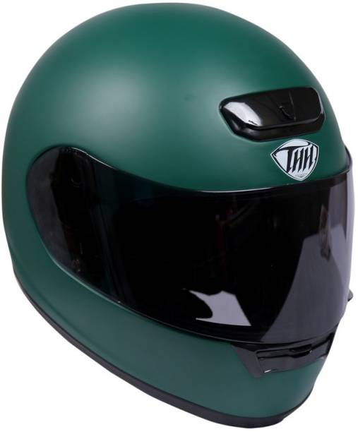 THH HELMETS TS-15 Plain Full Face Single Shield Helmet (Military Green, Matt) Motorbike Helmet