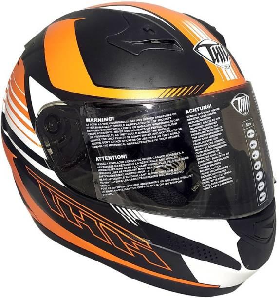 THH HELMETS T-76 Velocity Full Face Single Shield Helmet (Black/Orange, Matt) Motorbike Helmet